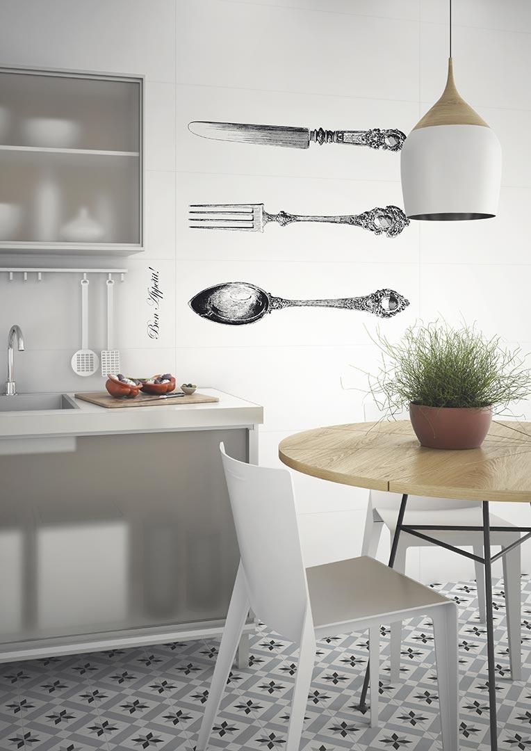White tiles,encaustic cement tiles for Kitchens | Satinados