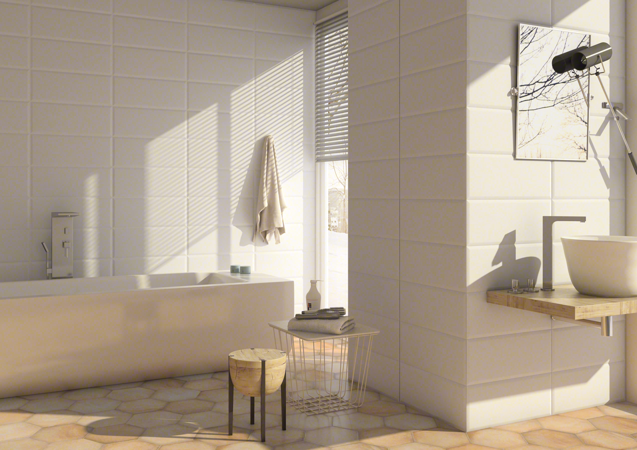 White tiles for Bathrooms | Gran zola