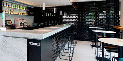 Classic black subway tile in the Consuelo Bar