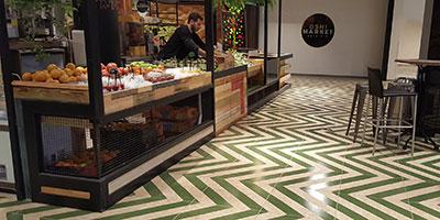 OSB like porcelain tile Nenets Verde with green diagonal stripes