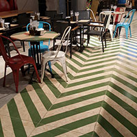 Restaurant floor with osb like ceramic wood from VIVES