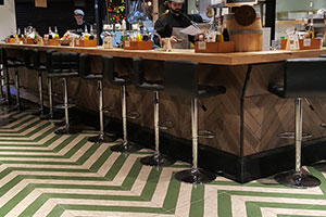 Bar floor with porcelain ceramic osb wood Nenets