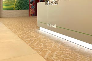 OSB like wood floor tiles with white ethnic pattern Seriaki by VIVES Ceramica