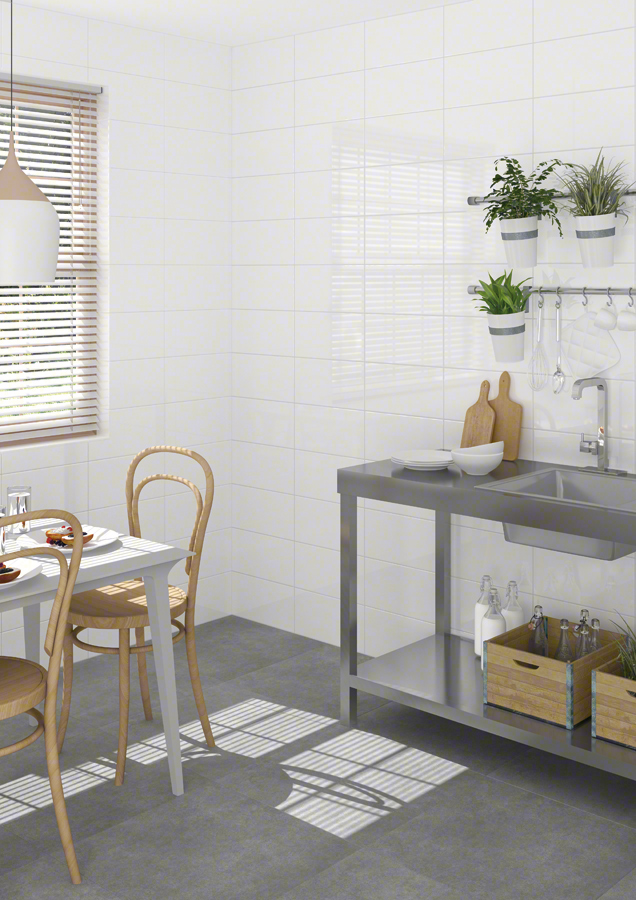 Vives revestimiento pasta roja blanco brillo 20x40 for Azulejos cocina blanco brillo