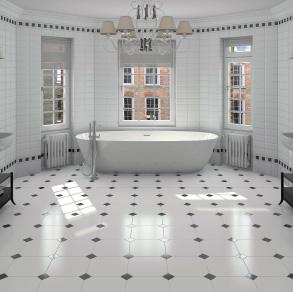 carrelage salle de bain cabochon